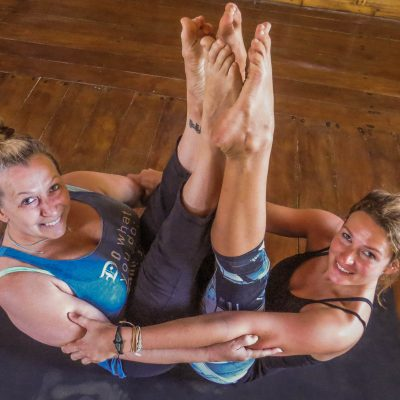 yoga teacher and student