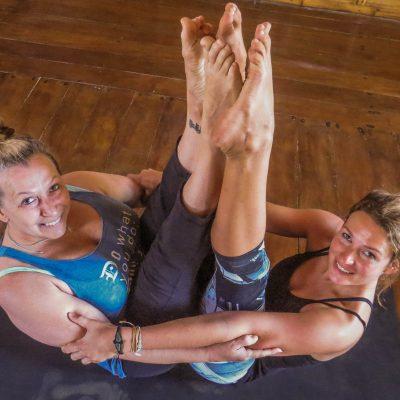 yoga teacher and student