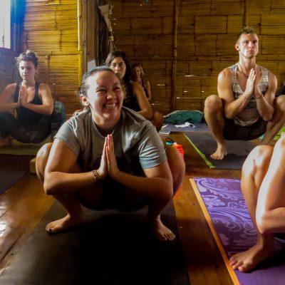 smiling malasana, yogi squat