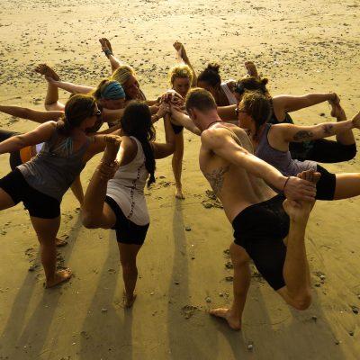 yoga circle, dancer pose, beach yoga