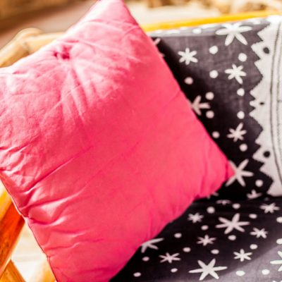 pink pillow, outdoor living